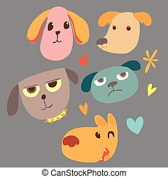 Animal face cartoon emotion