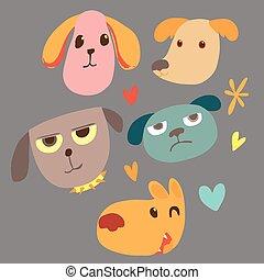 Animal face cartoon emotion