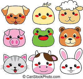 Animal Face Collection - Collection of nine funny and cute...