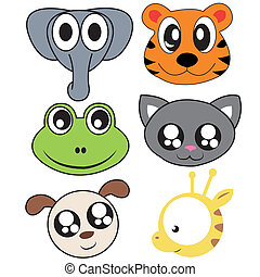 different animals face on white background