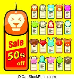 animal face flat label set