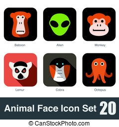 animal face icons set, vector illustration