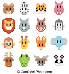 illustration of Animal cartoon - Pixel art style