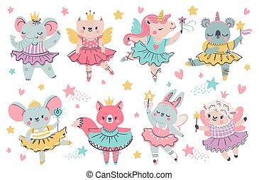 Animal fairy ballerina. Princess unicorn, bunny and koala with ballet tutu, wings and wand. Elephant with crown dance. Magic girl vector set