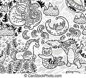 animal, fantástico, patrón, vector, lindo, plano de fondo, criaturas, outline.