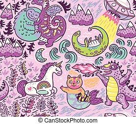 animal, fantastique, vecteur, mignon, fond, créatures, ...