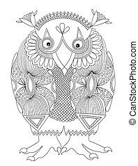 original modern cute ornate doodle fantasy monster personage, owl. Ukrainian traditional style