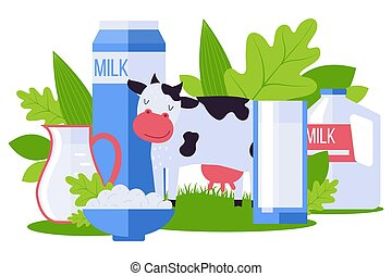 Animal farm, environmentally friendly dairy product collection vector illustration. Milk pack, cottage cheese in bowl, pet cow.
