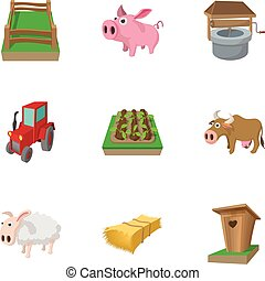 Animal farm icons set, cartoon style