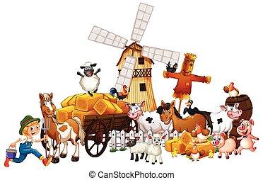 Animal farm with windmill cartoon style isolated