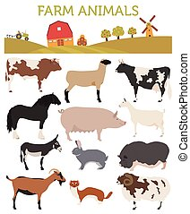 Animal farming, livestock. Cattle, pig, goat, ship, horse,...