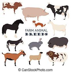 Animal farming, livestock. Cattle, pig, goat, ship, horse, donkey, rabbit, fur icon set isolated on white. Flat design. Vector illustration