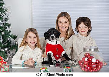 animal favori famille, chien, pendant, noël, heureux