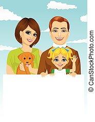animal favori famille, chien, tenue, vide, panneau affichage, blanc, heureux