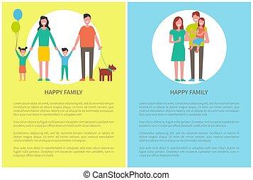 animal favori famille, illustration, vecteur, affiches, heureux