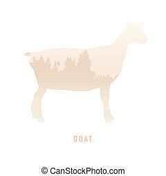 /animal, floresta, silueta, dentro, parque, luminoso, ilustração, cabra, experiência., cores, vetorial, pinho, branca, símbolo, logotipo, /