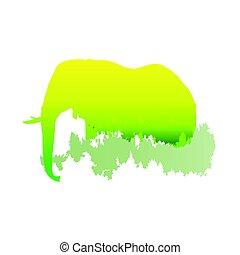 /animal, floresta, silueta, dentro, parque, luminoso, ilustração, experiência., cores, vetorial, pinho, elefante, branca, símbolo, logotipo, /