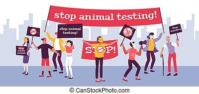 animal, fond, protestation, essai