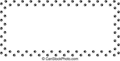 animal, fondo., pata, rectángulo, negro, blanco, marco, hecho, impresiones