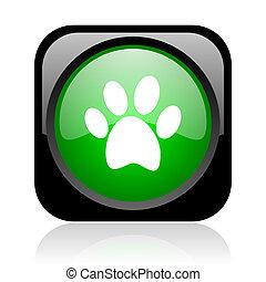 animal footprint black and green square web glossy icon