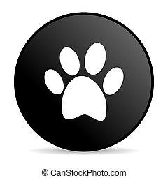 animal footprint black circle web glossy icon