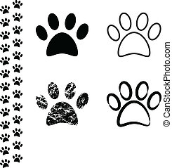 Animal footprint - Black silhouette of animal footprints on...