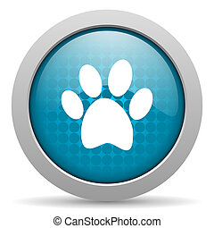 animal footprint blue circle web glossy icon