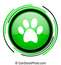animal footprint green circle glossy icon