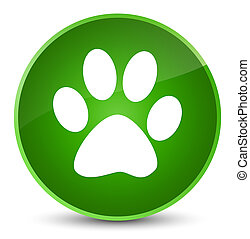 Animal footprint icon elegant green round button