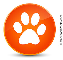 Animal footprint icon elegant orange round button