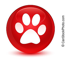 Animal footprint icon glassy red round button