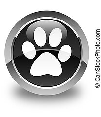 Animal footprint icon glossy black round button