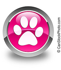 Animal footprint icon glossy pink round button