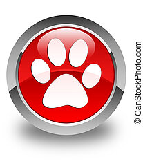 Animal footprint icon glossy red round button