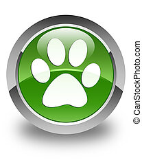 Animal footprint icon glossy soft green round button