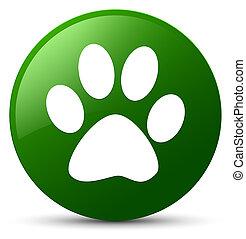 Animal footprint icon green round button