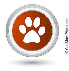 Animal footprint icon prime brown round button
