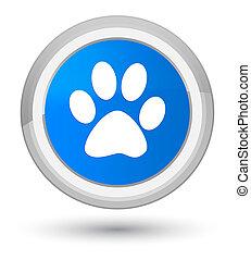 Animal footprint icon prime cyan blue round button