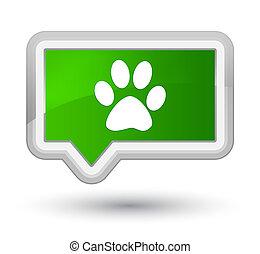 Animal footprint icon prime green banner button