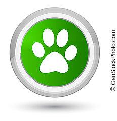 Animal footprint icon prime green round button