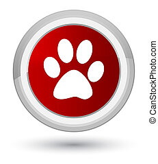 Animal footprint icon prime red round button