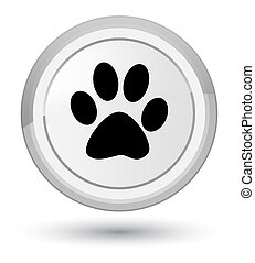 Animal footprint icon prime white round button