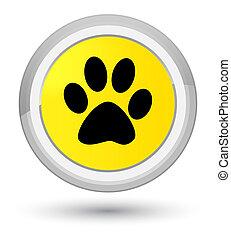 Animal footprint icon prime yellow round button