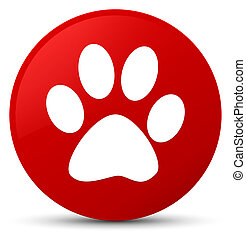 Animal footprint icon red round button