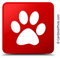 Animal footprint icon red square button