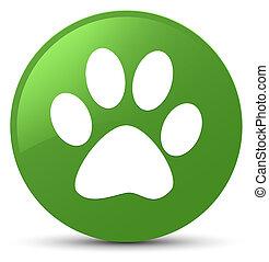 Animal footprint icon soft green round button