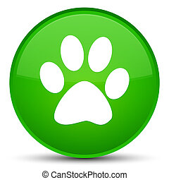 Animal footprint icon special green round button