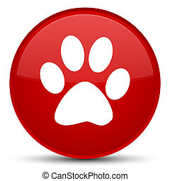 Animal footprint icon special red round button