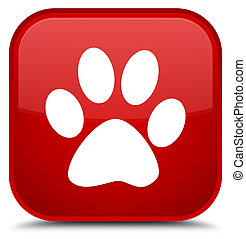 Animal footprint icon special red square button