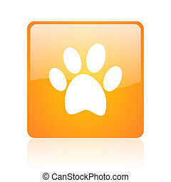 animal footprint orange square glossy web icon